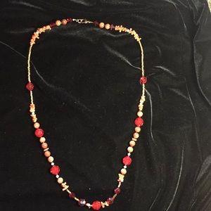 Necklace goldstone, coral, red Swarovski crystal